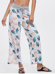 High Waisted Pineapple Print Wide Leg Pants - WHITE S
