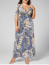 Long V Neck Printed Pattern Plus Size Dress