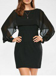 Flounce Chiffon Panel Capelet Dress
