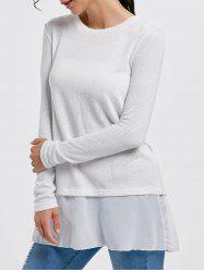 Stylish Scoop Neck Long Sleeve Chiffon Spliced Sequined Women's Sweater