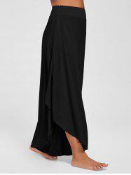 Overlap Culotte Pants - BLACK