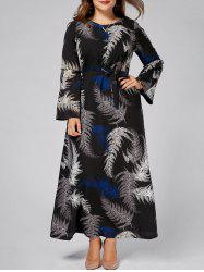 Leaves Print Plus Size Chiffon Long Sleeve Maxi Dress