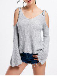 Bowknot Cold Shoulder Bell Sleeve Sweater