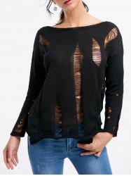 Drop Shoulder Distressed Boat Neck Sweater