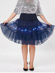 Plus Size Cosplay Light Up Party Skirt - CERULEAN