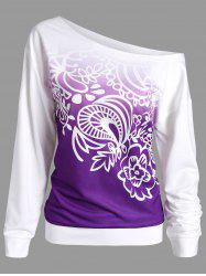 Printed Ombre Long Sleeve Sweatshirt - PURPLE
