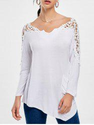 Crochet Insert Long Sleeve Asymmetric Tunic Top