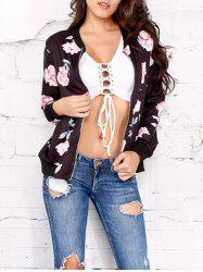 Zippered Carnation Print Jacket - BLACK