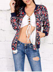 Zipper Up Floral Print Jacket