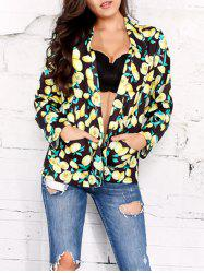 Shawl Collar Open Front Lemon Print Blazer