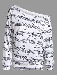 Musical Notes Printed Long Sleeves Sweatshirt - WHITE