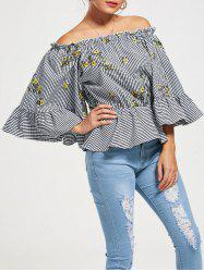 Off The Shoulder Flared Sleeve Peplum Top - Multicolore S