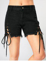 Criss Cross Lace Up Frayed Jean Shorts - BLACK