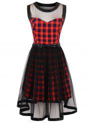 Tartan Print Sheer Yarn Insert Flared Dress -