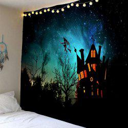 Waterproof Halloween Witch Printed Wall Hanging Tapestry - Black - W91 Inch * L71 Inch