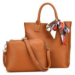 Stitching Tote Bag Set with Scarf -