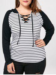 Stirped Panel Plus Size Lace Up Hoodie -