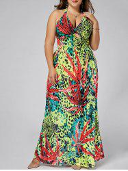 Leopard Plus  Size  Plunging Neck Maxi Halter Dress -