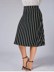 Plus Size A Line Striped Skirt -