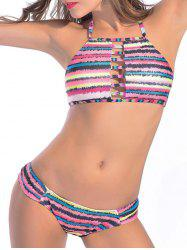Halter Striped Lattice Bikini Set -