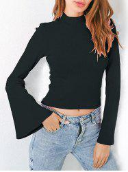 Casual Flare Sleeve Mock Neck Blouse -