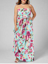 Floor Length Plus Size Floral Bandeau Strapless Summer Dress -