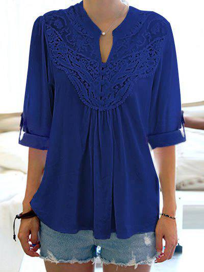 Half Sleeve Floral Lace Panel BlouseWOMEN<br><br>Size: ONE SIZE; Color: BLUE; Style: Fashion; Material: Cotton,Polyester; Shirt Length: Regular; Sleeve Length: Half; Collar: Stand Collar; Pattern Type: Flower; Embellishment: Lace; Season: Summer; Weight: 0.2100kg; Package Contents: 1 x Blouse;