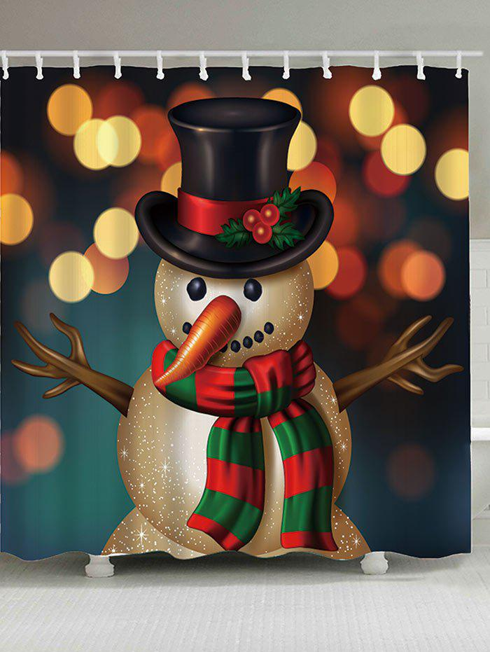 Image of Christmas Snowman Printed Shower Curtain