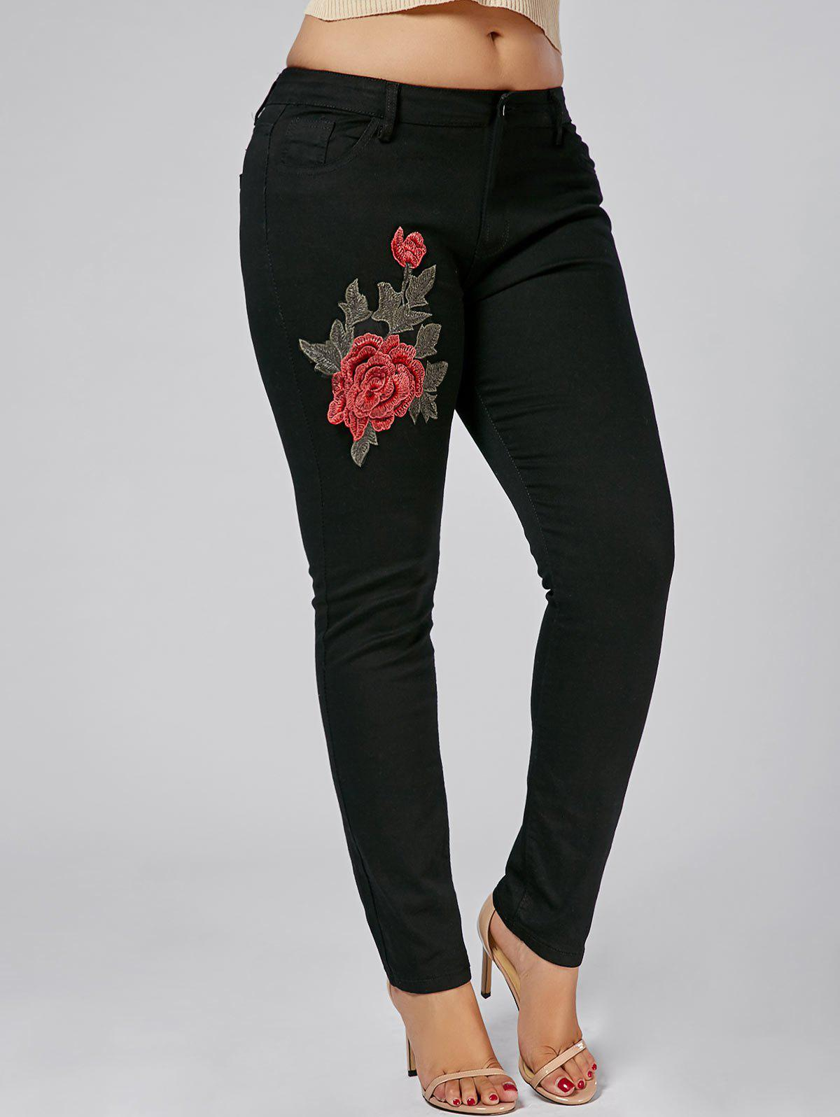 Plus Size Embroidered Tight JeansWOMEN<br><br>Size: 2XL; Color: BLACK; Style: Fashion; Length: Ninth; Material: Cotton,Jeans,Polyester; Fit Type: Skinny; Waist Type: Low; Closure Type: Zipper Fly; Pattern Type: Floral; Embellishment: Appliques; Pant Style: Pencil Pants; Weight: 0.4700kg; Package Contents: 1 x Jeans;