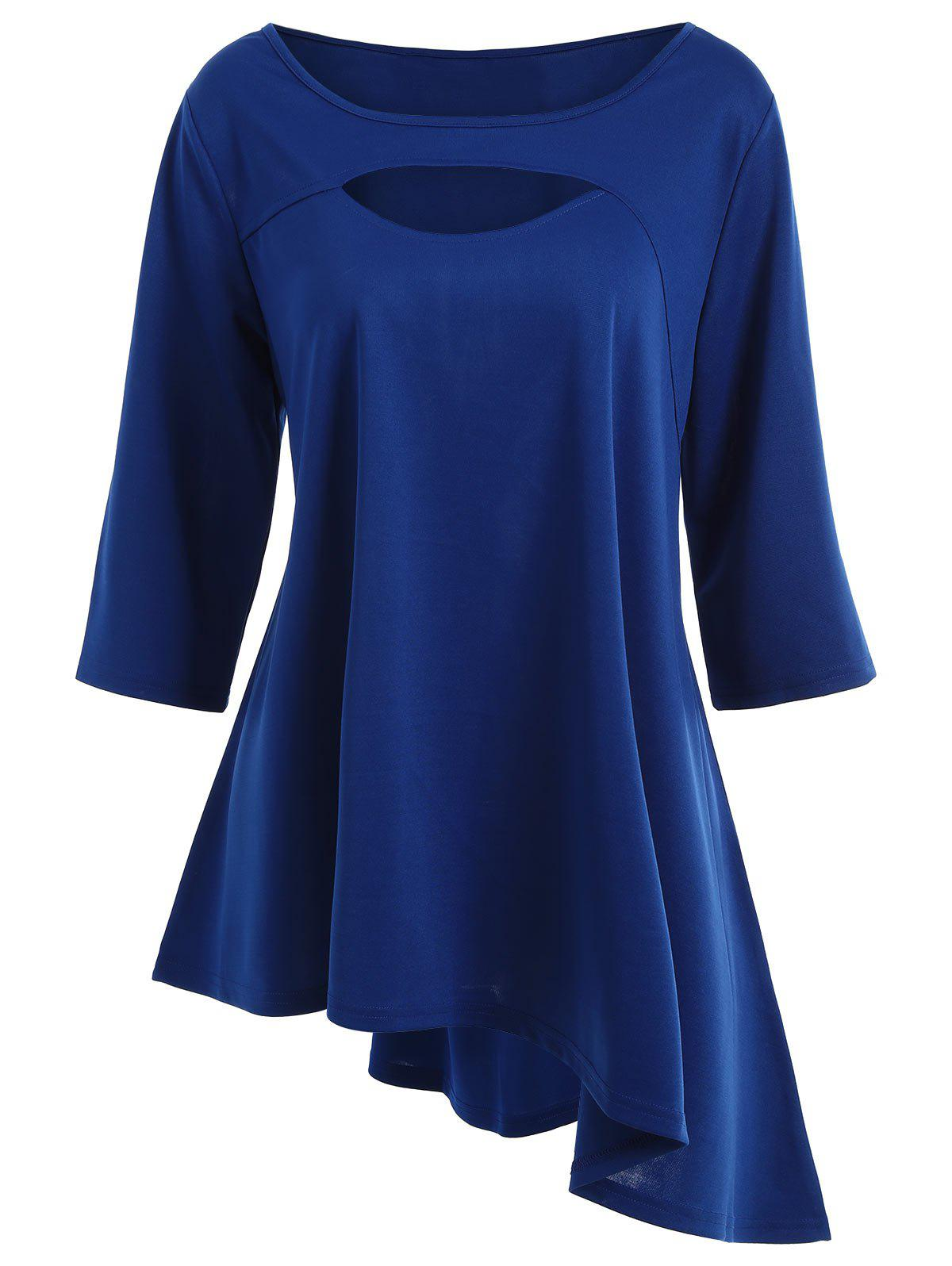 Long Plus Size Cut Out Asymmetric TeeWOMEN<br><br>Size: 4XL; Color: BLUE; Material: Polyester; Shirt Length: Long; Sleeve Length: Three Quarter; Collar: Round Neck; Style: Casual; Season: Fall,Spring; Pattern Type: Solid; Weight: 0.3700kg; Package Contents: 1 x Tee;
