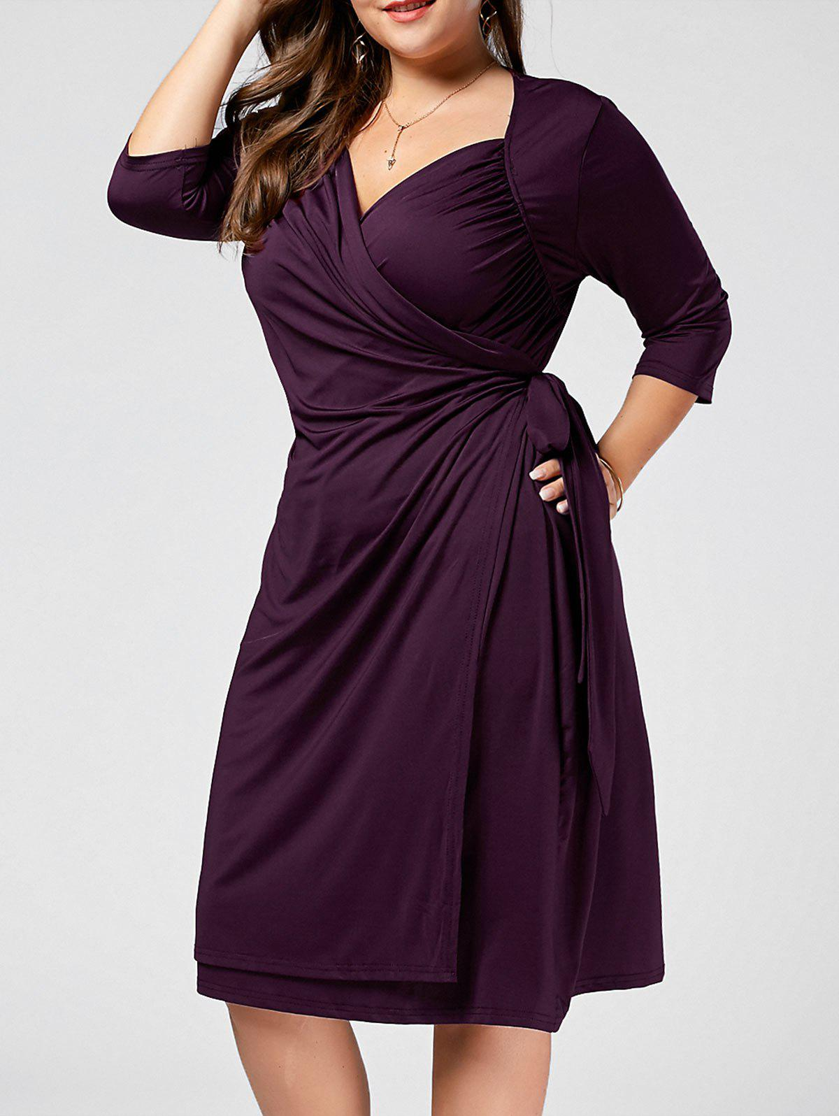 Plus Size V Neck A Line Wrap DressWOMEN<br><br>Size: 4XL; Color: PURPLE; Style: Casual; Material: Cotton Blend,Polyester; Silhouette: A-Line; Dresses Length: Knee-Length; Neckline: V-Neck; Sleeve Length: 3/4 Length Sleeves; Pattern Type: Solid Color; With Belt: No; Season: Fall,Spring; Weight: 0.4000kg; Package Contents: 1 x Dress;