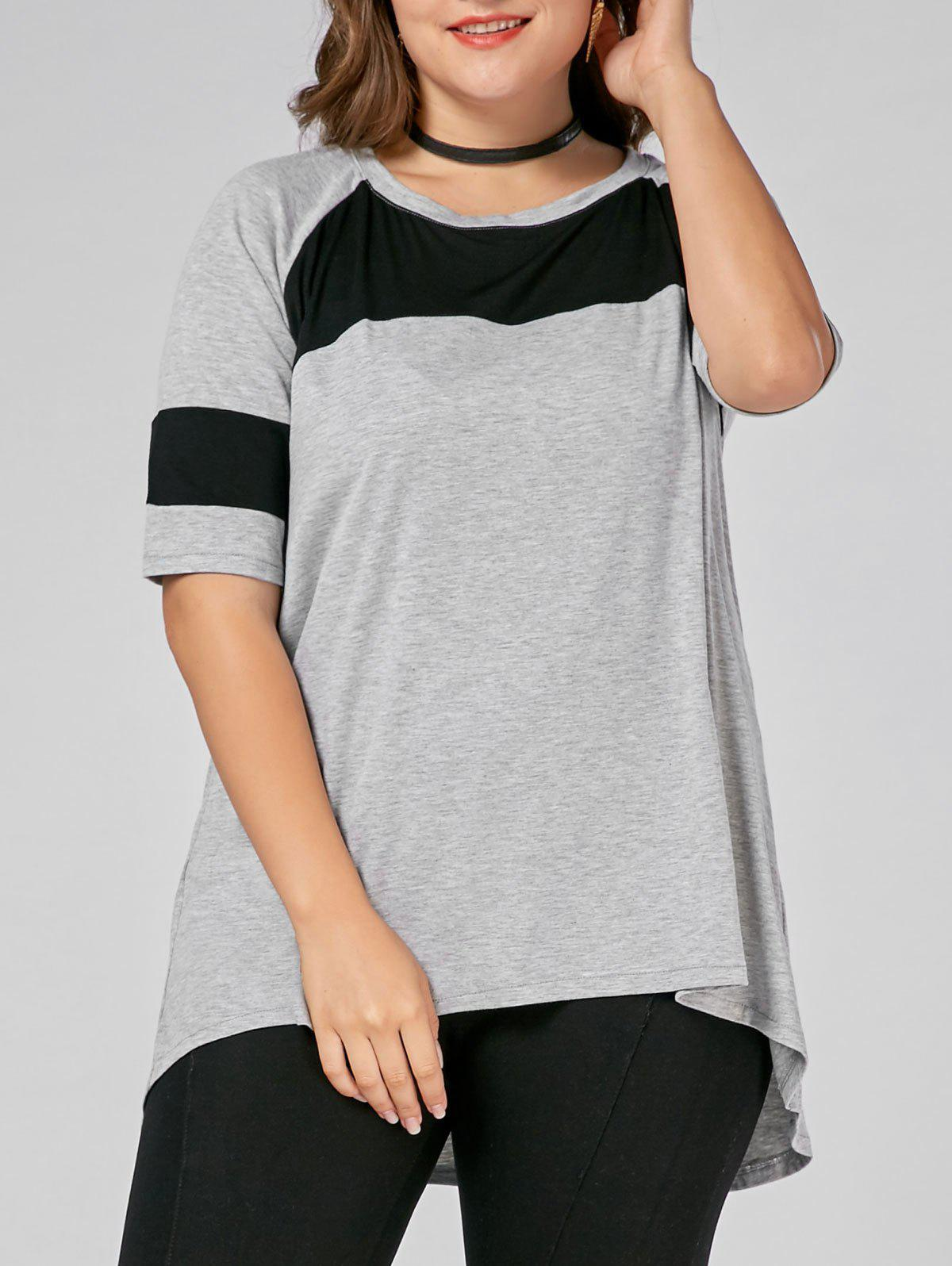 Color Block Plus Size Long High Low T-shirtWOMEN<br><br>Size: 6XL; Color: GRAY; Material: Cotton,Cotton Blends,Polyester; Shirt Length: Long; Sleeve Length: Short; Collar: Scoop Neck; Style: Casual; Season: Spring,Summer; Pattern Type: Others; Weight: 0.2700kg; Package Contents: 1 x Tee;