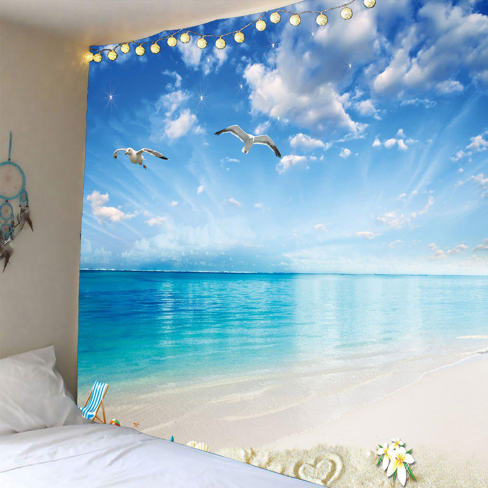 Seascape Seagulls Waterproof Wall TapestryHOME<br><br>Size: W59 INCH * L59 INCH; Color: LIGHT BLUE; Style: Natural; Theme: Landscape; Material: Polyester; Feature: Removable; Shape/Pattern: Print; Weight: 0.2400kg; Package Contents: 1 x Tapestry;