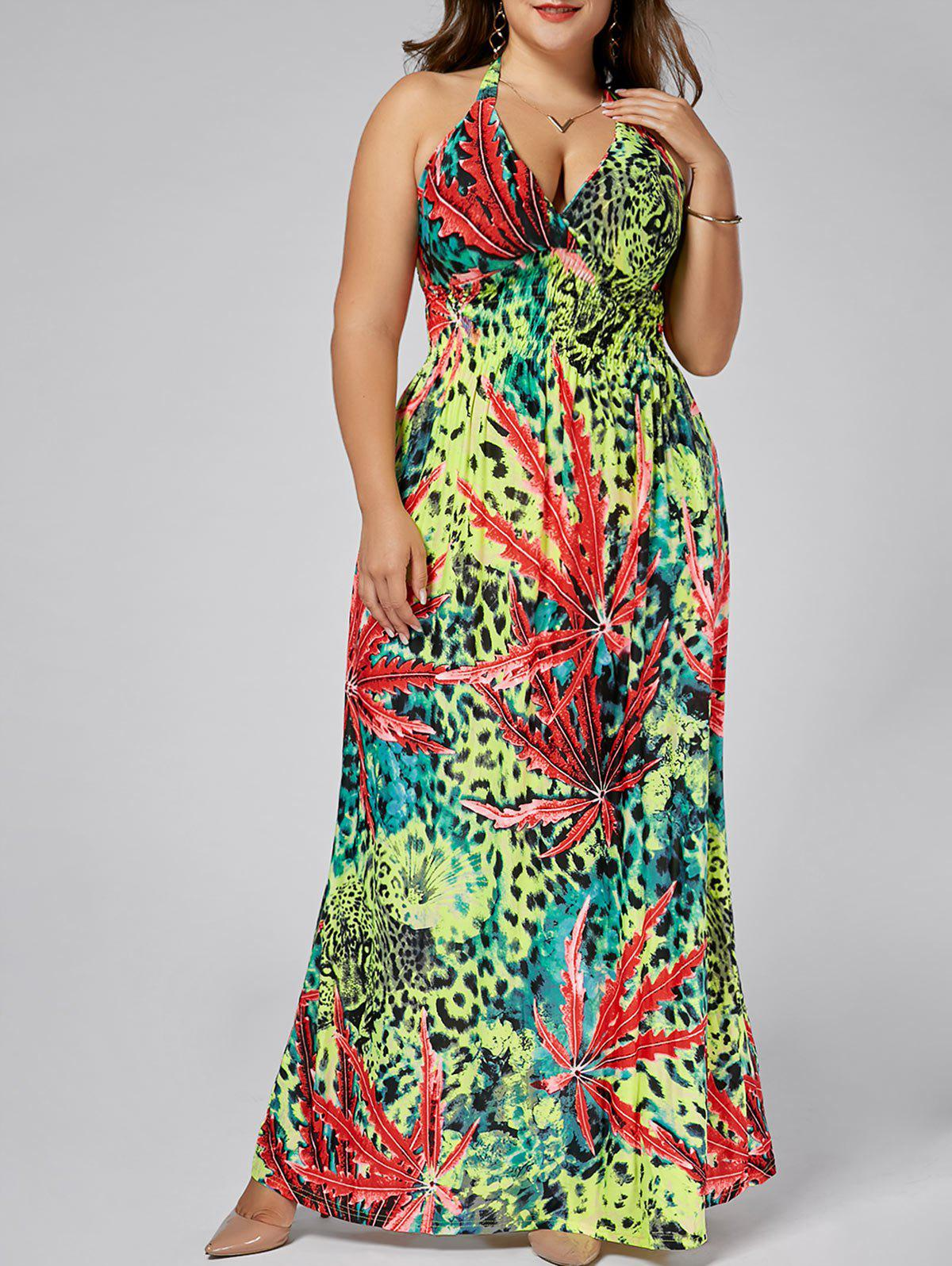 Leopard Plus  Size  Plunging Neck Maxi Halter DressWOMEN<br><br>Size: 3XL; Color: FLORAL; Style: Bohemian; Material: Cotton Blend,Polyester; Silhouette: Beach; Dresses Length: Ankle-Length; Neckline: Halter; Sleeve Length: Sleeveless; Waist: Empire; Embellishment: Backless; Pattern Type: Leopard,Plant,Print; With Belt: No; Season: Spring,Summer; Weight: 0.4800kg; Package Contents: 1 x Dress;