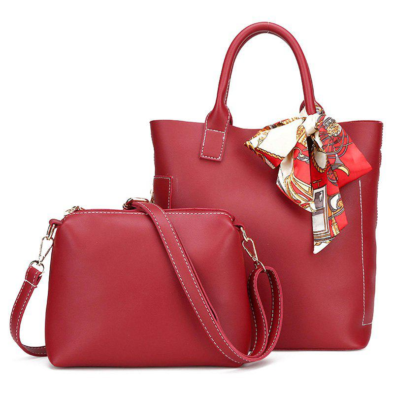 Stitching Tote Bag Set with ScarfSHOES &amp; BAGS<br><br>Color: RED; Handbag Type: Totes; Style: Fashion; Gender: For Women; Pattern Type: Solid; Handbag Size: Small(20-30cm); Closure Type: Magnetic Closure; Occasion: Versatile; Main Material: PU; Weight: 0.6000kg; Size(CM)(L*W*H): Tote Bag Size: 24*13*28; Package Contents: 1 x Tote Bag,1 x Crossbody Bag;