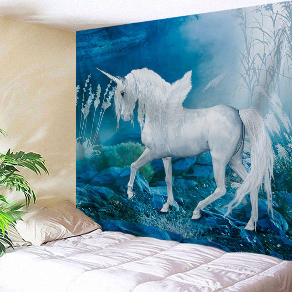Unicorn Printed Wall Hanging Polyester TapestryHOME<br><br>Size: W51 INCH * L59 INCH; Color: BLUE; Style: Romantic; Theme: Animals,Fairytale Theme; Material: Polyester; Feature: Removable,Washable; Shape/Pattern: Print; Weight: 0.1800kg; Package Contents: 1 x Tapestry;