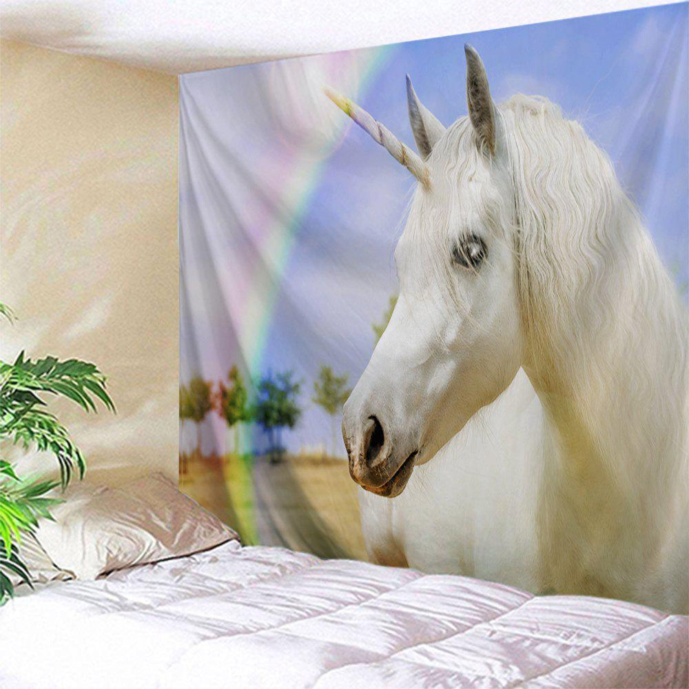 Rainbow Unicorn Wall Decor Polyester TapestryHOME<br><br>Size: W51 INCH * L59 INCH; Color: COLORMIX; Style: Romantic; Theme: Animals; Material: Polyester; Feature: Removable,Washable; Shape/Pattern: Print; Weight: 0.1800kg; Package Contents: 1 x Tapestry;