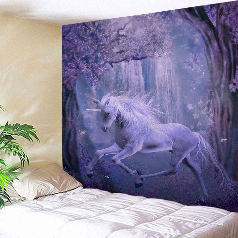 Fairyland Unicorn Animal Polyester Wall TapestryHOME<br><br>Size: W71 INCH * L91 INCH; Color: PURPLE; Style: Romantic; Theme: Animals,Fairytale Theme; Material: Polyester; Feature: Removable,Washable; Shape/Pattern: Print; Weight: 0.3800kg; Package Contents: 1 x Tapestry;