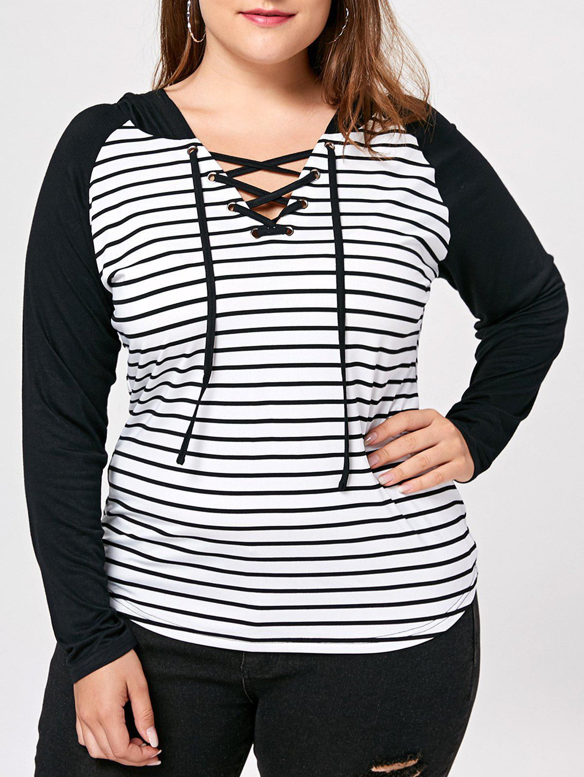 Sale Stirped Panel Plus Size Lace Up Hoodie