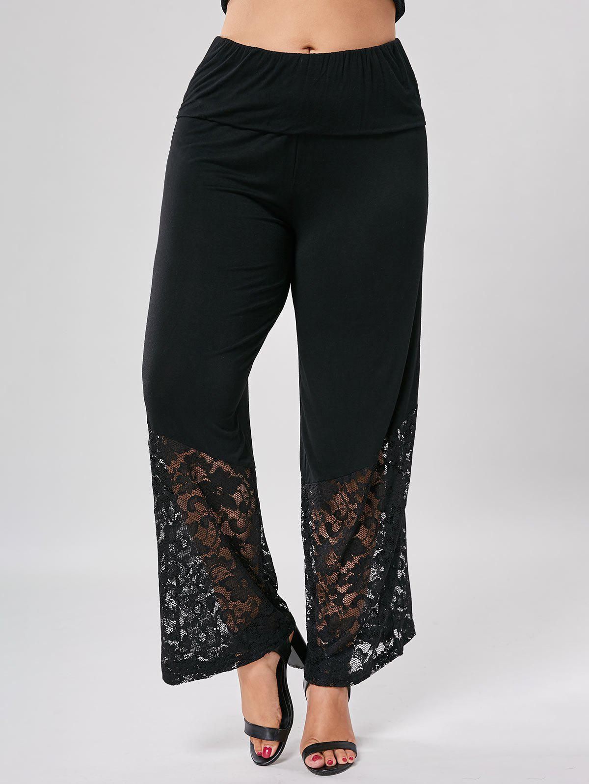 Plus Size Lace Trim Wide Leg PantsWOMEN<br><br>Size: 5XL; Color: BLACK; Style: Casual; Length: Normal; Material: Polyester; Fit Type: Loose; Waist Type: High; Closure Type: Elastic Waist; Front Style: Flat; Pattern Type: Solid; Pant Style: Wide Leg Pants; With Belt: No; Weight: 0.4200kg; Package Contents: 1 x Pants;