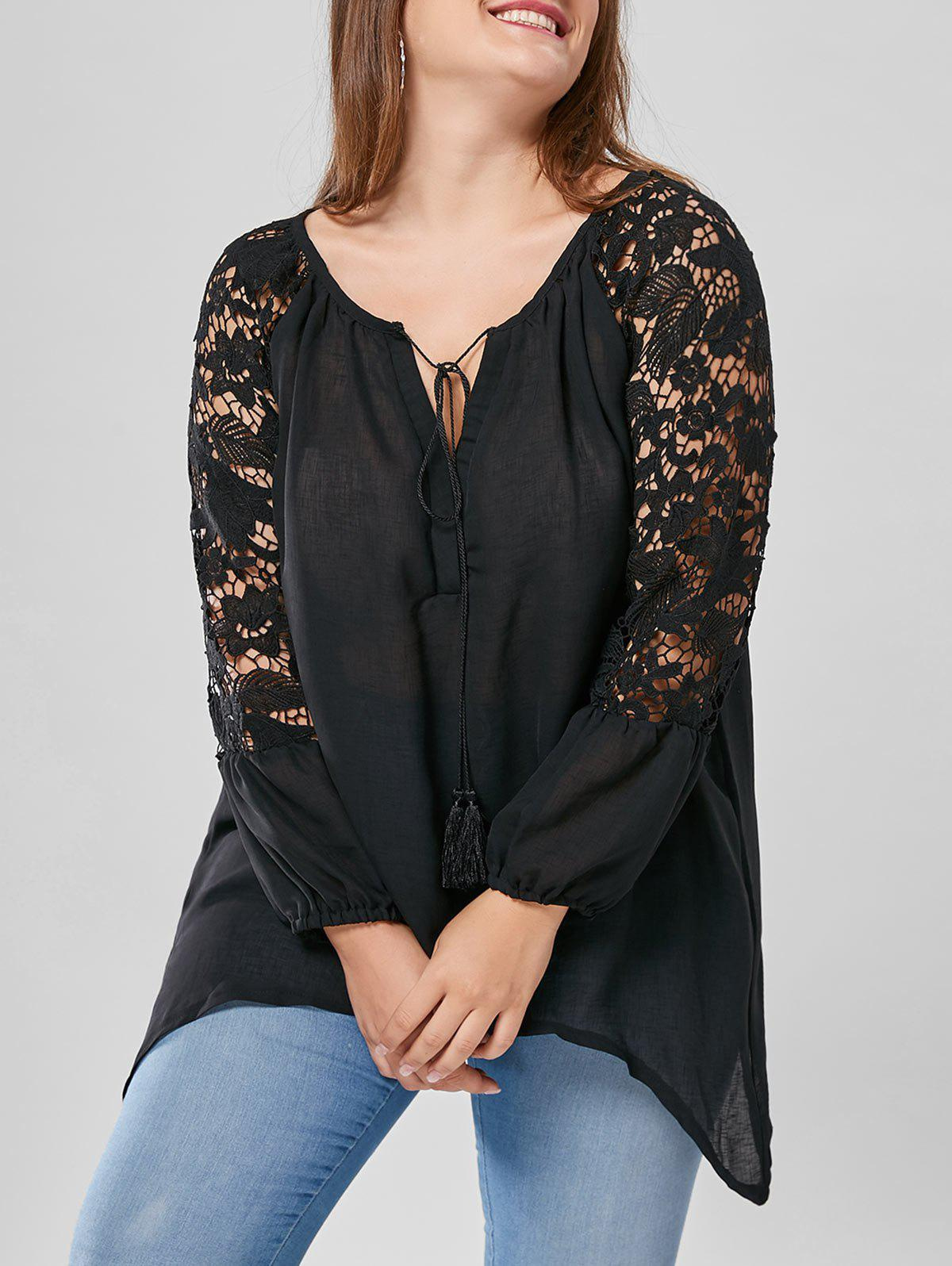 Plus Size Lace Trim Long Sleeve TopWOMEN<br><br>Size: XL; Color: BLACK; Material: Polyester; Shirt Length: Regular; Sleeve Length: Full; Collar: V-Neck; Style: Fashion; Season: Fall,Spring; Pattern Type: Solid; Weight: 0.3000kg; Package Contents: 1 x Top;