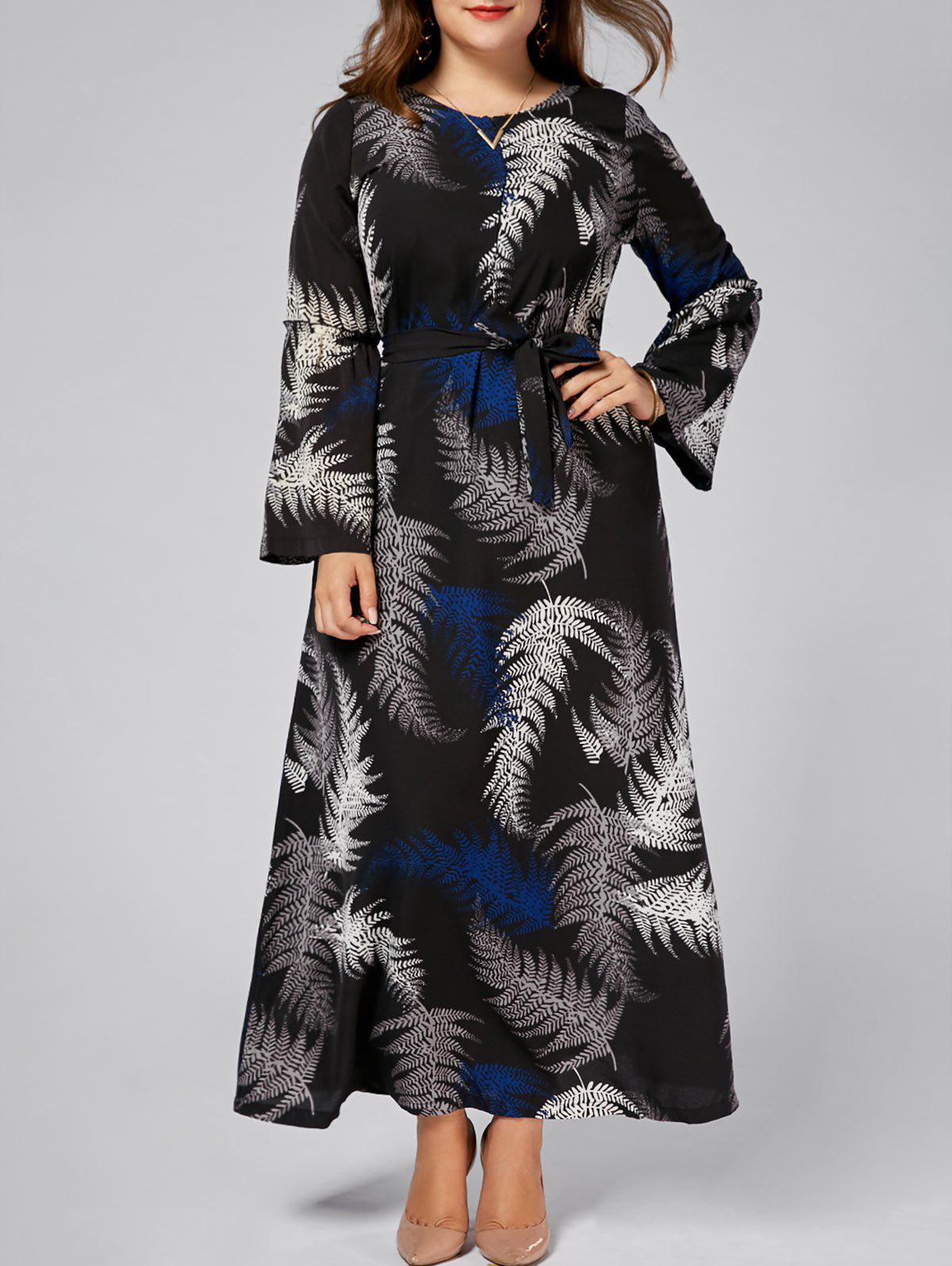 Leaves Print Plus Size Chiffon Long Sleeve Maxi DressWOMEN<br><br>Size: 7XL; Color: BLACK; Style: Bohemian; Material: Cotton Blend,Polyester; Fabric Type: Chiffon; Silhouette: Beach; Dresses Length: Ankle-Length; Neckline: Round Collar; Sleeve Type: Flare Sleeve; Sleeve Length: Long Sleeves; Pattern Type: Plant,Print; With Belt: Yes; Season: Fall,Spring; Weight: 0.3500kg; Package Contents: 1 x Dress 1 x Belt;