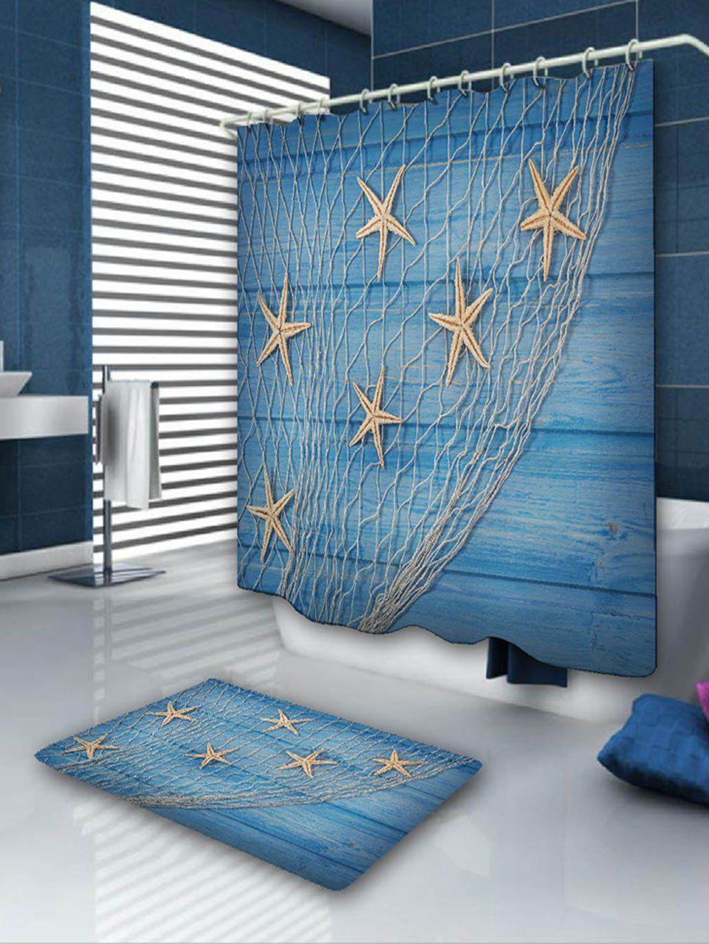 Starfish Fishing Net Print Shower Curtain and RugHOME<br><br>Color: BLUE; Products Type: Shower Curtains; Materials: Flannel,Polyester; Pattern: Star; Style: Beach Style; Package Contents: 1 x Shower Curtain 1 x Rug;