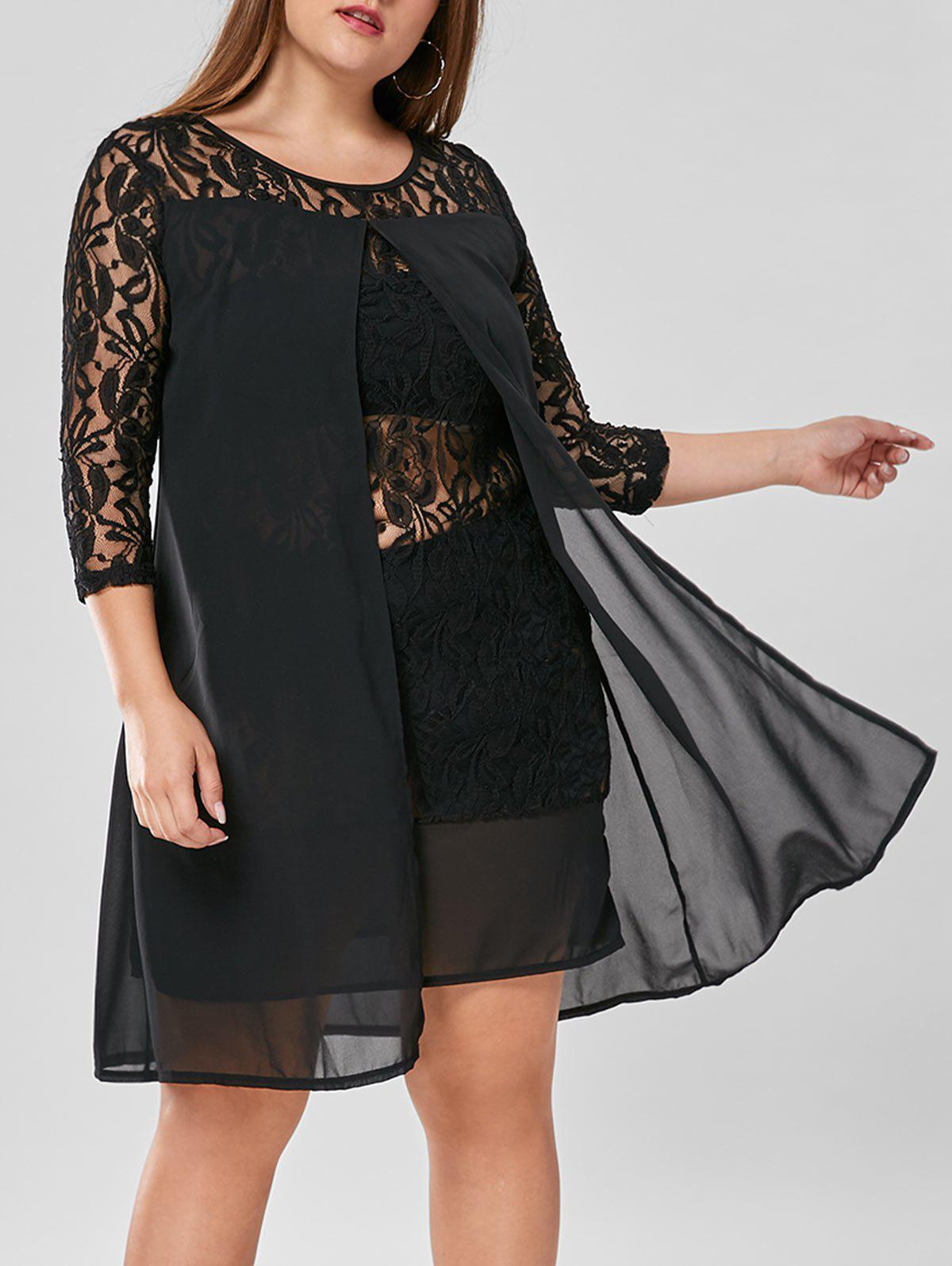 Knee Length Plus Size Lace Trim DressWOMEN<br><br>Size: 4XL; Color: BLACK; Style: Brief; Material: Polyester; Silhouette: Straight; Dresses Length: Knee-Length; Neckline: Round Collar; Sleeve Length: 3/4 Length Sleeves; Pattern Type: Solid Color; With Belt: No; Season: Fall,Summer; Weight: 0.3500kg; Package Contents: 1 x Dress;
