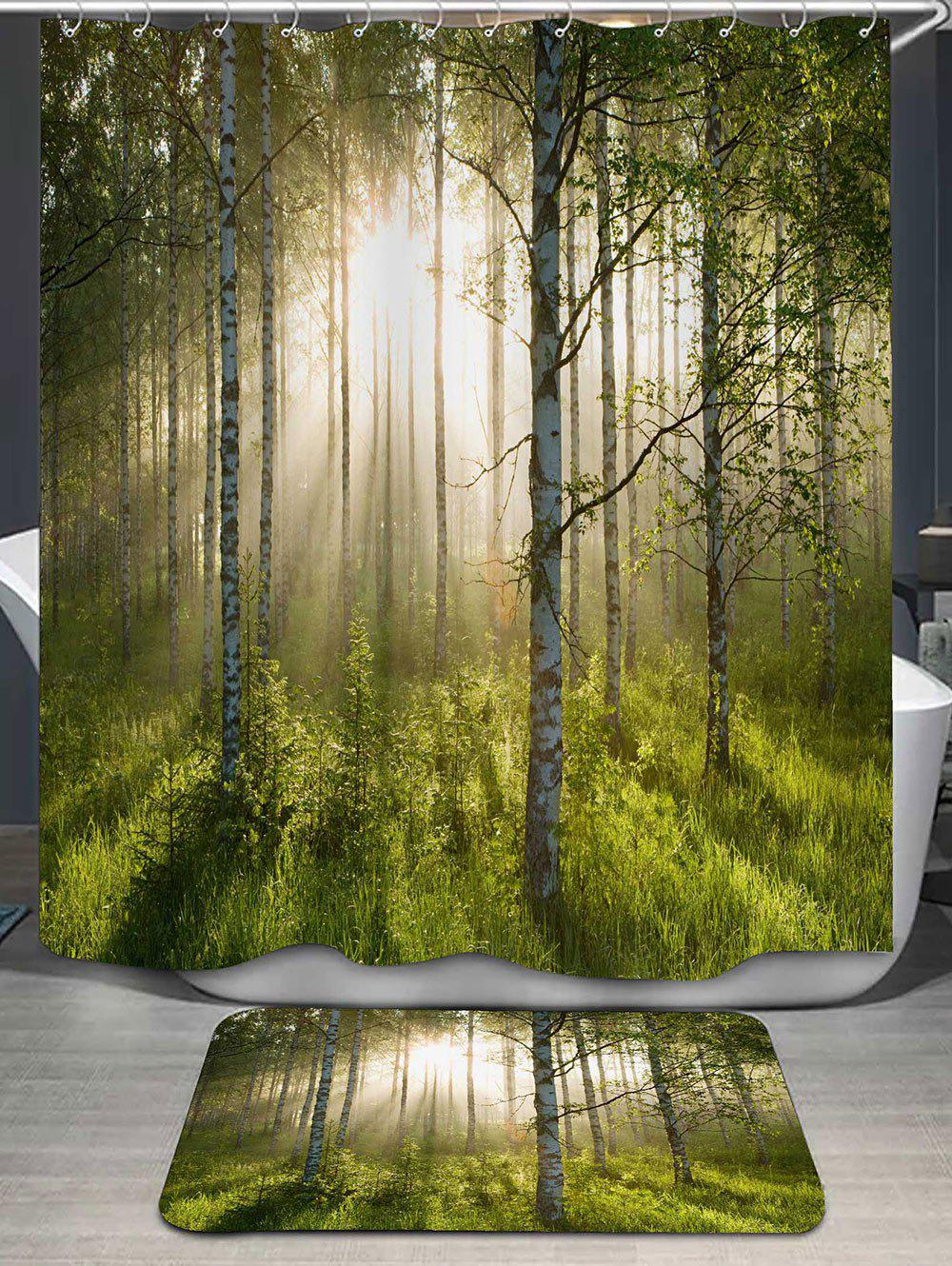Forest Pattern Shower Curtain and Bath RugHOME<br><br>Color: GREEN; Products Type: Shower Curtains; Materials: Flannel,Polyester; Pattern: Plant; Style: Fashion; Package Contents: 1 x Shower Curtain 1 x Rug;