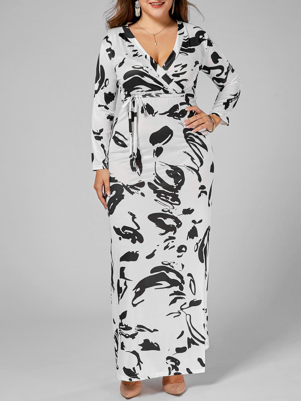 Floor Length V Neck Plus Size Printed DressWOMEN<br><br>Size: 5XL; Color: WHITE; Style: Cute; Material: Polyester; Silhouette: A-Line; Dresses Length: Floor-Length; Neckline: V-Neck; Sleeve Length: Short Sleeves; Pattern Type: Print; With Belt: Yes; Season: Summer; Weight: 0.4000kg; Package Contents: 1 x Dress  1 x Belt;