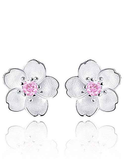 Faux Crystal Floral Shape Earring JacketsJEWELRY<br><br>Color: PINK; Earring Type: Earring Jackets; Gender: For Girls,For Women; Material: Crystal; Metal Type: Alloy; Style: Fresh Style; Shape/Pattern: Floral; Weight: 0.0400kg; Package Contents: 1 x Earrings(Pair);