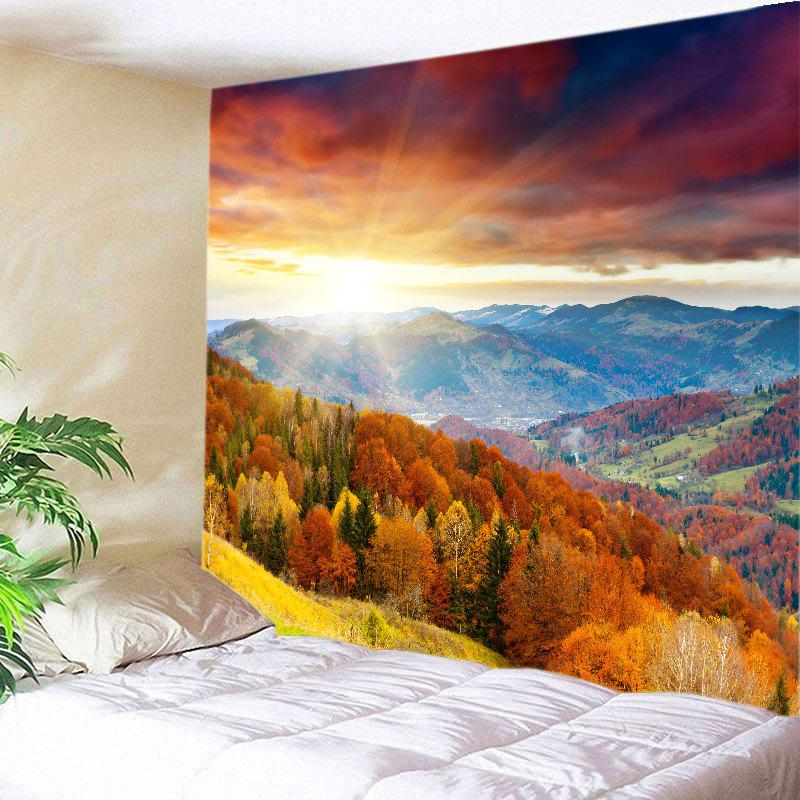 Sun Moutains View Print Tapestry Wall Hanging Art DecorationHOME<br><br>Size: W79 INCH * L59 INCH; Color: COLORFUL; Style: Natural; Theme: Landscape; Material: Polyester; Feature: Washable; Shape/Pattern: Forest; Weight: 0.4500kg; Package Contents: 1 x Tapestry;