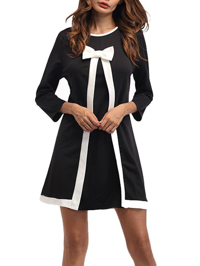 Bowknot Work Shift Mini DressWOMEN<br><br>Size: XL; Color: BLACK; Style: Brief; Material: Cotton,Polyester; Silhouette: Shift; Dresses Length: Mini; Neckline: Round Collar; Sleeve Length: 3/4 Length Sleeves; Embellishment: Bowknot; Pattern Type: Others; With Belt: No; Season: Fall,Spring; Weight: 0.5500kg; Package Contents: 1 x Dress; Occasion: Casual,Going Out,Homecoming,Office,Outdoor;