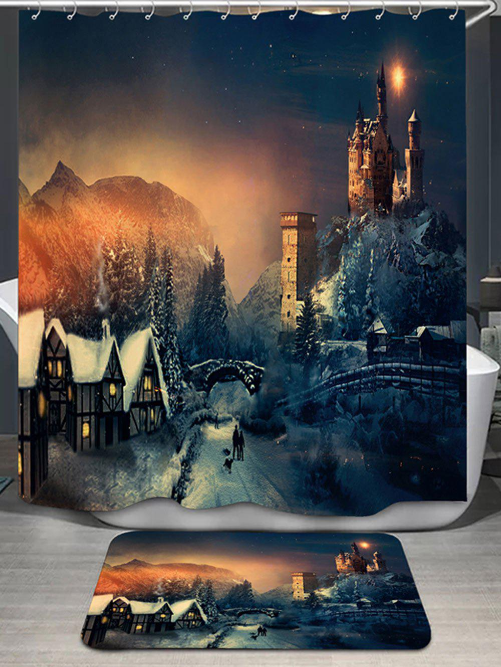 Fairy Tale Castle Print Shower Curtain and RugHOME<br><br>Color: COLORMIX; Products Type: Shower Curtains; Materials: Flannel,Polyester; Pattern: Print; Style: Fashion; Package Contents: 1 x Shower Curtain 1 x Rug;